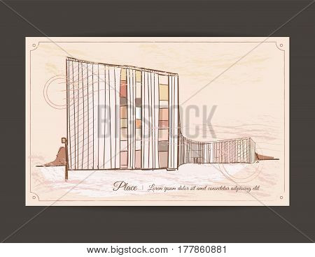 Architectural sketch. Old postcard with a picture of a building.