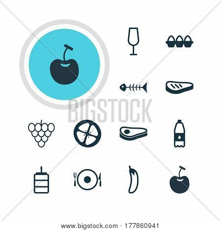Vector Illustration Of 12 Dish Icons. Editable Pack Of Berry Type, Serving, Love Apple And Other Elements.
