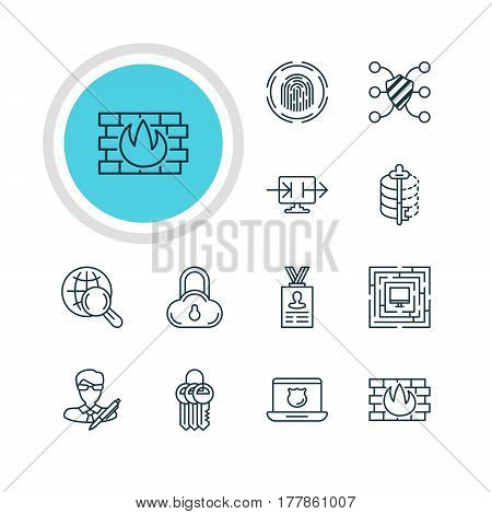 Vector Illustration Of 12 Protection Icons. Editable Pack Of Safe Storage, Key Collection, Account Data And Other Elements.