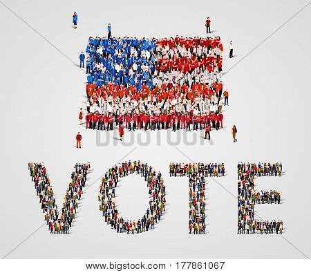 Large group of people in the shape of United States of America flag and vote word. USA. Vote, presidential elections concept. Vector illustration
