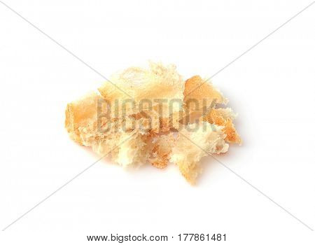 Bread crumbs on white background