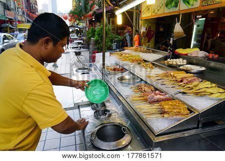 KUALA LUMPUR, 14 JANUARY 2017 - Street food in Kuala Lumpur, Malaysia, Asia