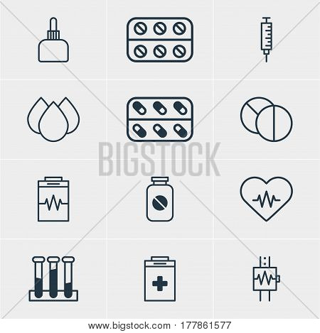 Vector Illustration Of 12 Health Icons. Editable Pack Of Heart Rhythm, Trickle, Exigency And Other Elements.