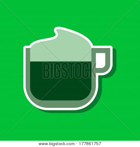 paper sticker on stylish background of coffee with milk cream