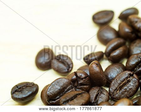 close up coffee bean on the table