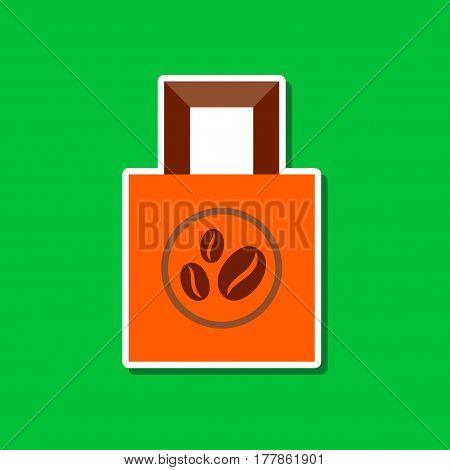 paper sticker on stylish background of coffee package