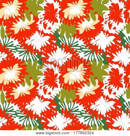 Vector illustration of mum flower background. Background of bouquets of asters with leaves for fabric, paper, web design