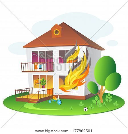 Illustration with burning house for companies insuring the property. Colorful illustration for design projects: websites, banners, leaflets, posters and cards.