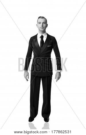 Confident attractive handsome young ballroom dancer man in tuxedo isolated on white background black and whie