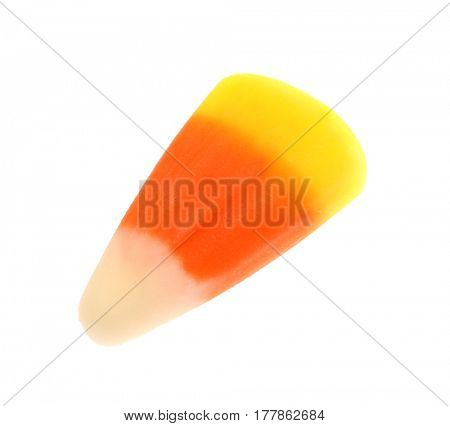Colorful Halloween candy corn on white background