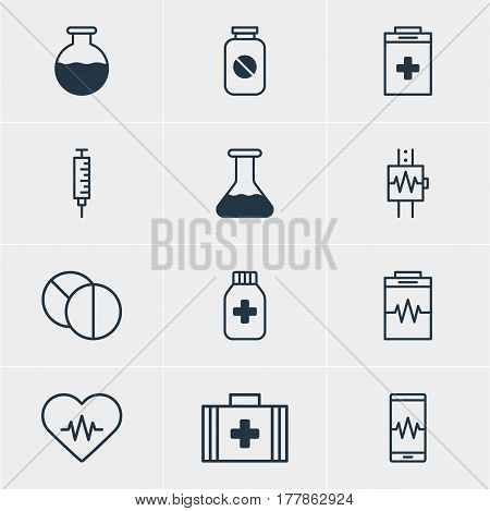 Vector Illustration Of 12 Medicine Icons. Editable Pack Of Medicine Jar, Treatment, Round Tablet And Other Elements.