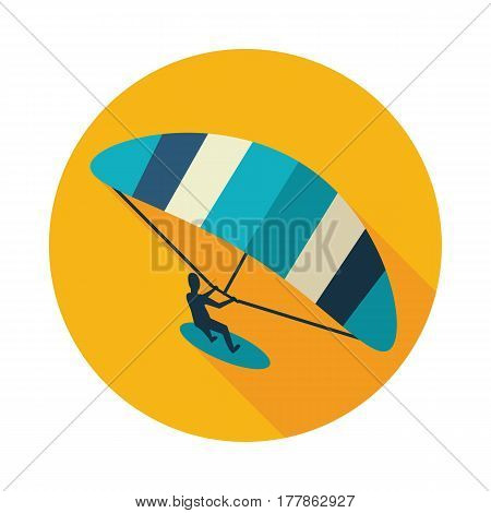 Kite boarding. Kite surfing vector icon. Beach. Summer. Summertime. Holiday. Vacation eps 10
