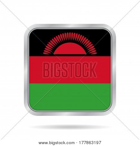 National flag of Malawi. Shiny metallic gray square button with shadow.