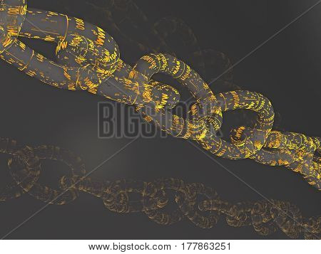 Chain with digital links black background 3D illustration.