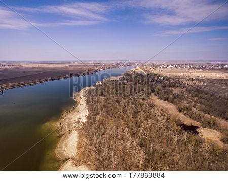 Drone photo of Don river near Rostov-on-Don on a spring morning. Aerial view.