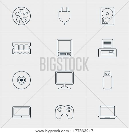 Vector Illustration Of 12 Computer Icons. Editable Pack Of Socket, Hard Drive Disk, Gamepad And Other Elements.