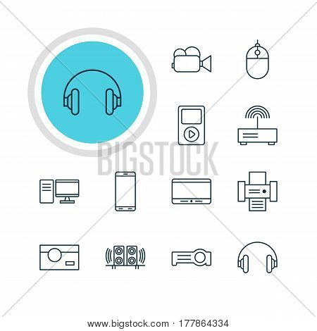 Vector Illustration Of 12 Gadget Icons. Editable Pack Of Loudspeaker, Modem, Monitor And Other Elements.