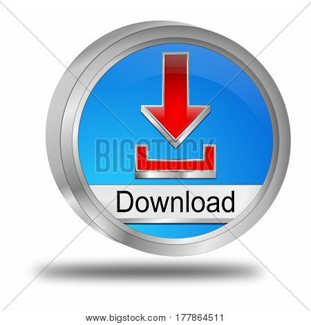 decorative blue red Download button - 3D illustration