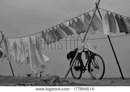 Laundry in Guwahati Brahmaputra Beach Assam India