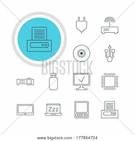 Vector Illustration Of 12 Computer Icons. Editable Pack Of Flash Drive, Microprocessor, Usb Icon And Other Elements.
