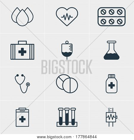 Vector Illustration Of 12 Medical Icons. Editable Pack Of Pulse, Round Tablet, Antibody And Other Elements.