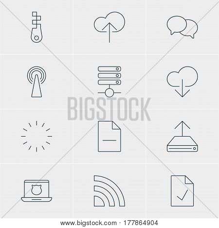 Vector Illustration Of 12 Network Icons. Editable Pack Of Wireless Network, Talking, Checked Note And Other Elements.
