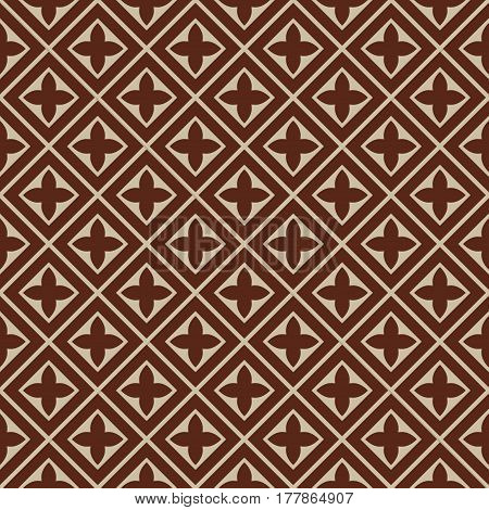 seamless illustration - brown beige square tile pattern with cloverleafs and diagonal lines