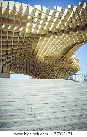 Metropol Parasol and steps in Seville Andalusia