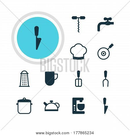 Vector Illustration Of 12 Kitchenware Icons. Editable Pack Of Mixer, Chef Hat, Teakettle And Other Elements.