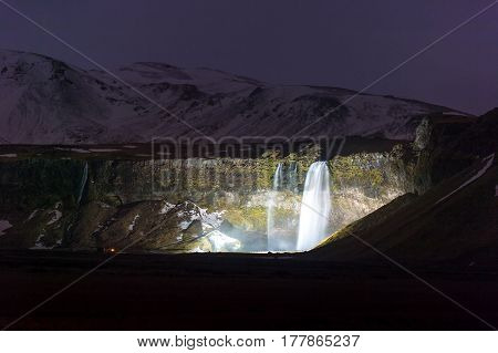 Seljalandsfoss light up one of the best known waterfalls in Iceland