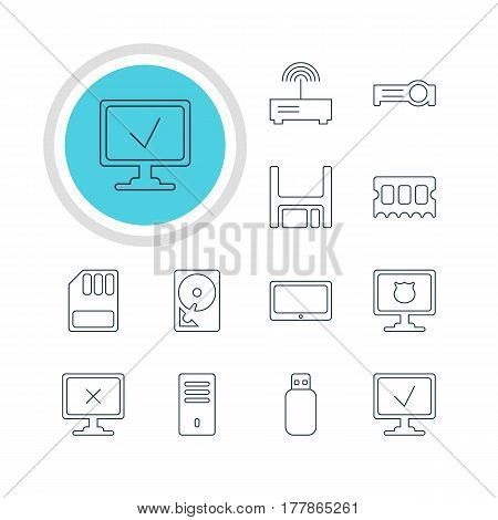 Vector Illustration Of 12 Notebook Icons. Editable Pack Of Diskette, Mainframe, Access Denied And Other Elements.