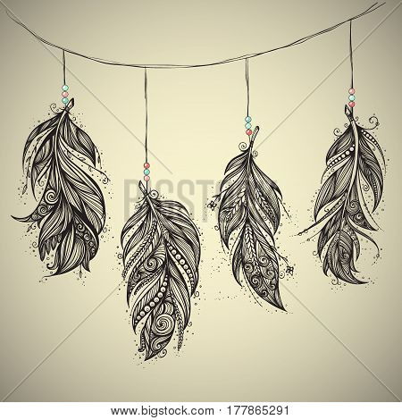 Native American Indian talisman. Vector hand drawn hipster feathers. Boho design, tattoo art.