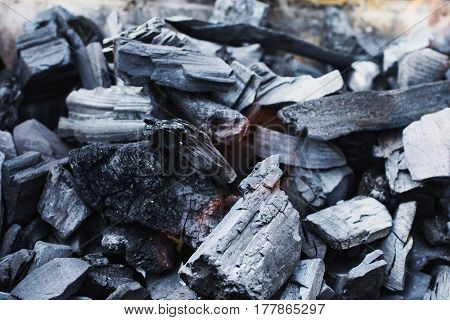 Black coal burning. Natural fuel. Cooking outdoors with coal