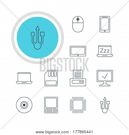 Vector Illustration Of 12 Laptop Icons. Editable Pack Of Printer, Online Computer, Laptop And Other Elements.