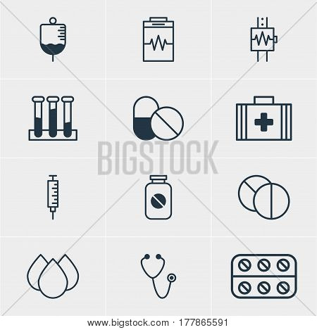 Vector Illustration Of 12 Medicine Icons. Editable Pack Of Heartbeat, Trickle, Treatment And Other Elements.