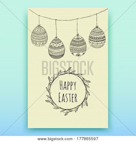 Background with hanging Easter eggs. Hand-drawn decorative elements in vector. Pattern for adult coloring book. Black and white. Zentangle.