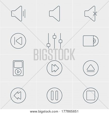 Vector Illustration Of 12 Music Icons. Editable Pack Of Reversing, Mp3, Rewind And Other Elements.