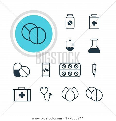 Vector Illustration Of 12 Medicine Icons. Editable Pack Of Trickle, Aspirin, Antibiotic And Other Elements.
