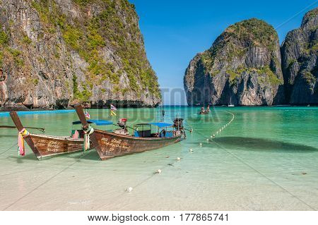PHI PHI ISLANDS, THAILAND - FEBRUARY 23, 2009: Maya Bay at Phi Phi Islands is a popular tour destination from Krabi and Phuket. The movie the Beach with Leonardo DiCaprio was partly shot here.