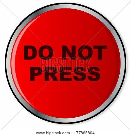 A large red help do not press button over a white background