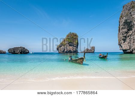 PHI PHI ISLANDS, THAILAND - FEBRUARY 23, 2009: Nuy Bay in Phi Phi Islands. Phi Phi Islands are a popular tour destination from Phuket and Krabi.