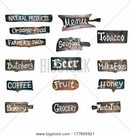 Collection of wood signboards for various shops and showcases isolated over white background