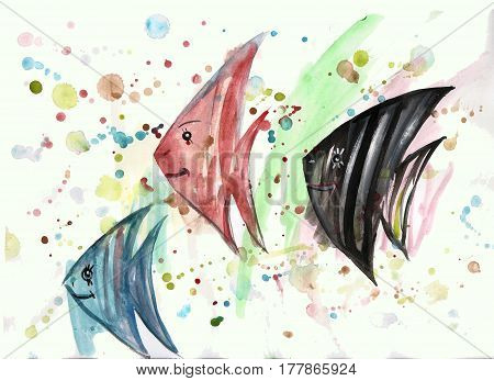 Watercolor fish on abstract background with blots