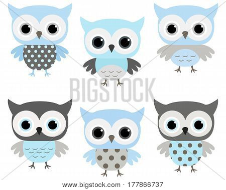 Cute blue and grey vector owls set for baby showers birthdays invites greeting cards and nursery decor