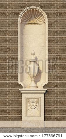Niche in a classic style with a vase on the wall of brown brick. 3d rendering