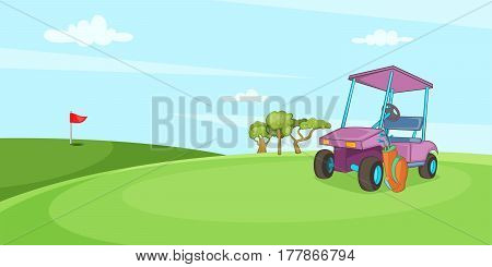 Field of golf horizontal banner concept. Cartoon illustration of field of golf vector horizontal banner for web