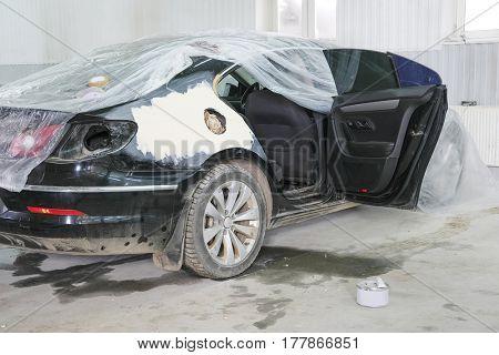 Kaluga, Russia - March, 21, 2017: Cars in a car repair station in Kaluga, Russia