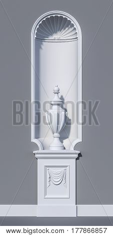 White niche in a classic style with a vase on a grey background. 3d rendering
