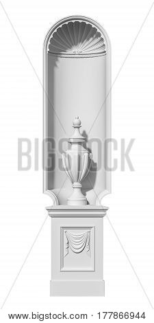 White niche in a classic style with a vase on a white background. 3d rendering