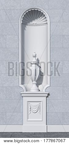 niche with a vase in a classical style on a grey stone wall. 3d rendering